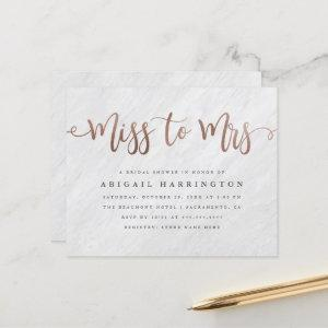 Budget Marble Rose Gold Miss to Mrs Bridal Shower starting at 0.60