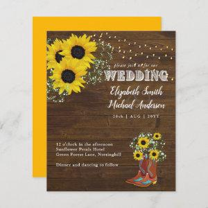 BUDGET Rustic Sunflower Cowboy Boot Wedding Invite starting at 0.61