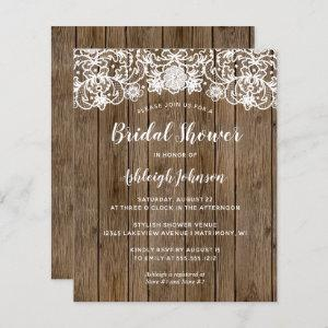 Budget Rustic Wood Lace Bridal Shower Invitation starting at 0.61
