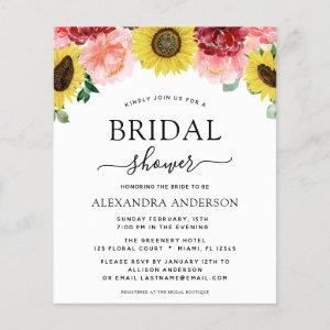 Budget Sunflower Bridal Shower Floral Invitations starting at 0.50