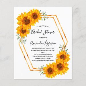 Budget Sunflowers Bridal Shower gold geometrical starting at 0.55