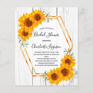 Budget Sunflowers Bridal Shower rustic geometrical starting at 0.55