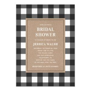 Buffalo Plaid Black and White Bridal Shower Invitation starting at 2.40