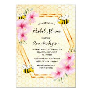 Bumble bee honeycomb pink florals bridal shower invitation starting at 2.40