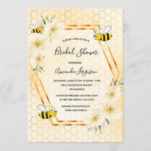 Bumble bee honeycomb tropical floral bridal shower invitation starting at 2.40