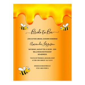Bumble bees bride to bee honey drips bridal shower postcard starting at 1.20