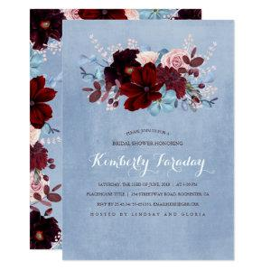 Burgundy and Dusty Blue Floral Bridal Shower Invitation starting at 2.15