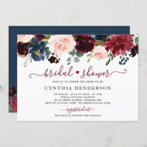 Burgundy Bloom Floral Navy Blue Bridal Shower Invitation starting at 2.30