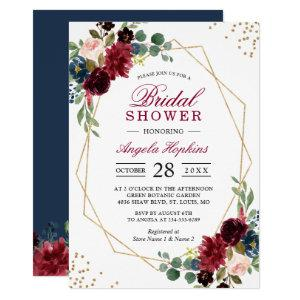 Burgundy Blue Floral Gold Geometric Bridal Shower Invitation starting at 2.10