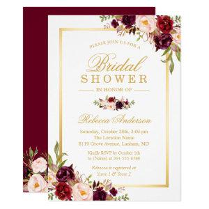 Burgundy Blush Bloom Floral Gold Bridal Shower Invitation starting at 2.40