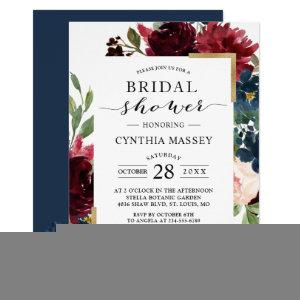 Burgundy Blush Blue Floral Modern Bridal Shower Invitation starting at 2.25