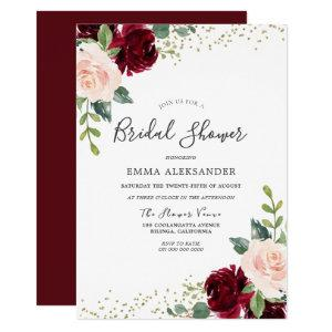 Burgundy Blush Floral Bridal Shower Invitation starting at 2.55