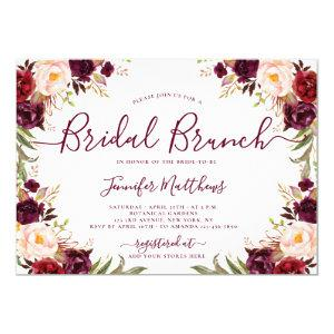 Burgundy Blush Floral Elegant Script Bridal Brunch Invitation starting at 2.15