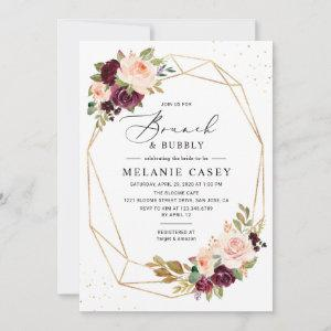 Burgundy Blush Floral Geometric Brunch and Bubbly Invitation starting at 2.35