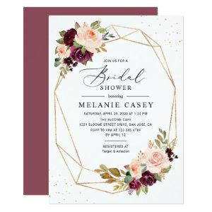 Burgundy Blush Floral Gold Geometric Bridal Shower Invitation starting at 2.51