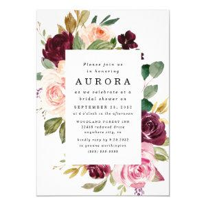 Burgundy Blush Pink Gold Floral Bridal Shower Invitation starting at 2.25