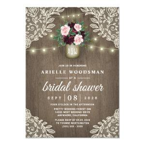 Burgundy Blush Pink Gold Mason Jar Bridal Shower Invitation starting at 2.25