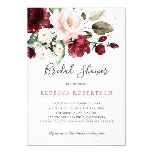 Burgundy Blush Watercolor Floral Bridal Shower Invitation starting at 2.15