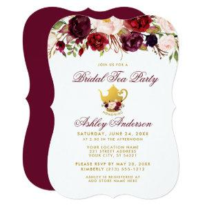 Burgundy Bridal Shower Tea Party Gold Invite BR starting at 2.76