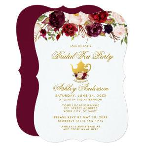 Burgundy Bridal Shower Tea Party Gold Invite GB starting at 2.76