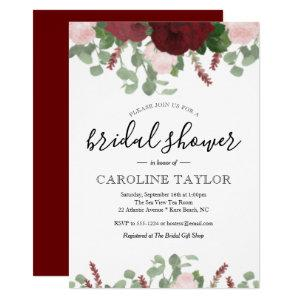 Burgundy Floral and Blush Pink Bridal Shower Invitation starting at 2.55