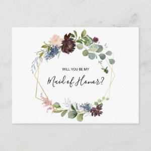 Burgundy Floral and Greenery Maid of Honor Invitation Postcard starting at 1.70