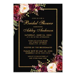 Burgundy Floral Black Gold Bridal Shower Invitation starting at 2.51