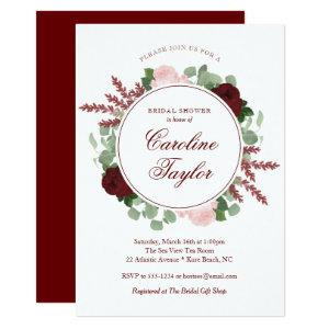 Burgundy Floral Bridal Shower Elegant Watercolor Invitation starting at 2.66