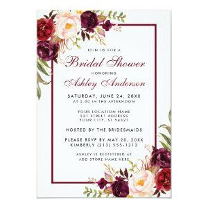Burgundy Floral Bridal Shower Invitation starting at 2.51