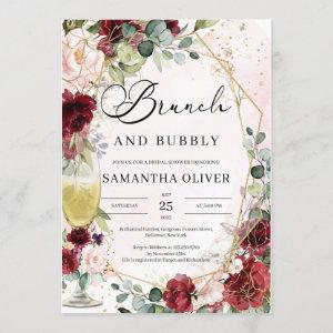 Burgundy floral champagne glass brunch and bubbly invitation starting at 2.40