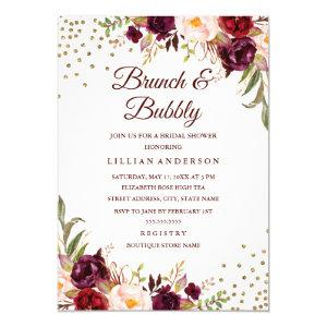 Burgundy Floral Confetti Brunch and Bubbly Shower Invitation starting at 2.15