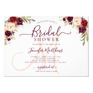 Burgundy Floral Elegant Monogram Bridal Shower Invitation starting at 2.40