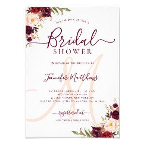 Burgundy Floral Elegant Monogram Bridal Shower Invitation starting at 2.15