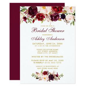 Burgundy Floral Gold Bridal Shower Invitation BB starting at 2.51