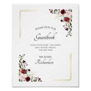 Burgundy Floral Gold Foil Sign Our Guestbook Sign starting at 12.30