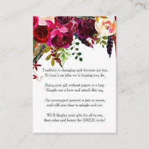 Burgundy Floral No Wrap Shower request tag 3979 Enclosure Card starting at 0.35
