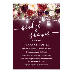 Burgundy Floral Rustic Bridal Shower Invite starting at 2.40