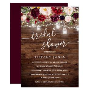 Burgundy Floral Rustic Wood Bridal Shower Invite starting at 2.15