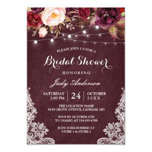 Burgundy Floral String Lights Lace Bridal Shower Invitation starting at 2.40