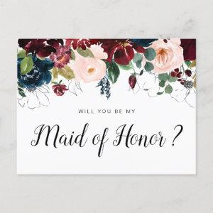 burgundy floral will you be my Maid of Honor card starting at 1.60