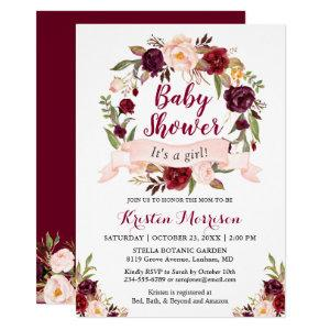 Burgundy Floral Wreath Blush Ribbon Baby Shower Invitation starting at 2.40
