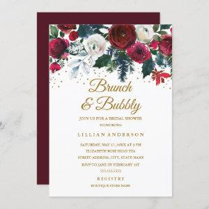 Burgundy Gold Floral Christmas Brunch And Bubbly Invitation starting at 2.55