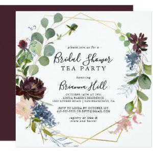 Burgundy Gold Geometric Bridal Shower Tea Party Invitation starting at 2.41