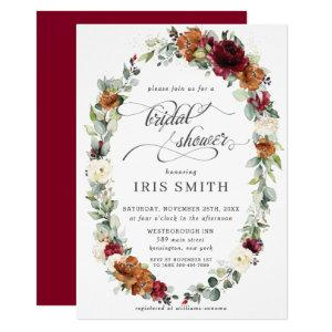 Burgundy Ivory Rust Floral Wreath Bridal Shower Invitation starting at 2.40