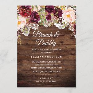 Burgundy Lace Brunch And Bubbly Bridal Shower Invitation starting at 2.55