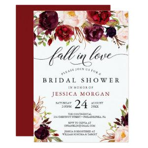 Burgundy Marsala Bridal Shower Invite Fall In Love starting at 2.05