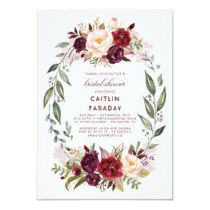 Burgundy - Marsala Floral Wreath Bridal Shower Invitation starting at 2.15
