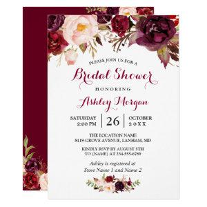 Burgundy Marsala Red Floral Autumn Bridal Shower Invitation starting at 2.10