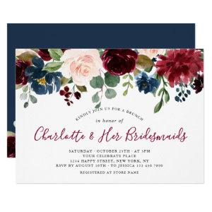 Burgundy Navy Blue Blush Flowers BRIDAL BRUNCH Invitation starting at 2.30