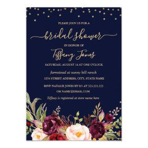 Burgundy Navy Confetti Floral Gold Bridal Shower Invitation starting at 2.55